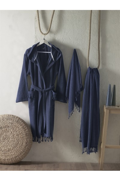 First choice LUXURY STONEWASHED BATHROBE SET-05 Austin lacivert НАБОР (ХАЛАТ И 2 ПОЛОТЕНЦА) 2020 г.