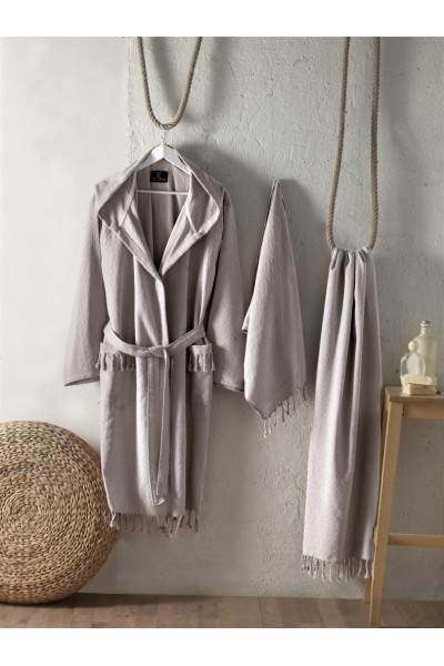 First choice LUXURY STONEWASHED BATHROBE SET-10 Austin toprak НАБОР (ХАЛАТ И 2 ПОЛОТЕНЦА) 2020 г.