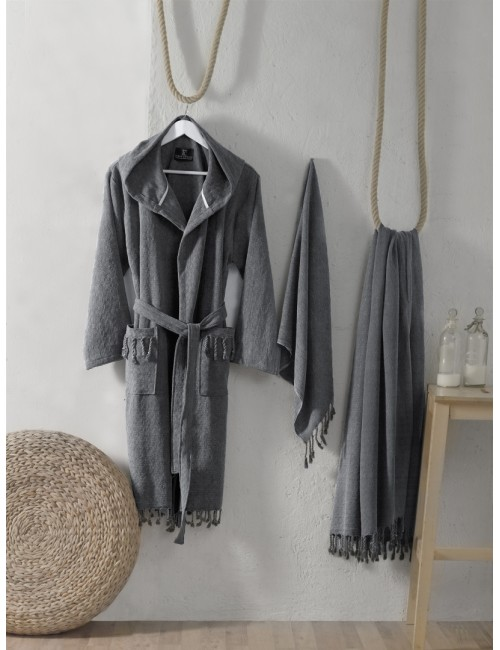 First choice LUXURY STONEWASHED BATHROBE SET-15 Austin fume НАБОР (ХАЛАТ И 2 ПОЛОТЕНЦА) 2020 г.