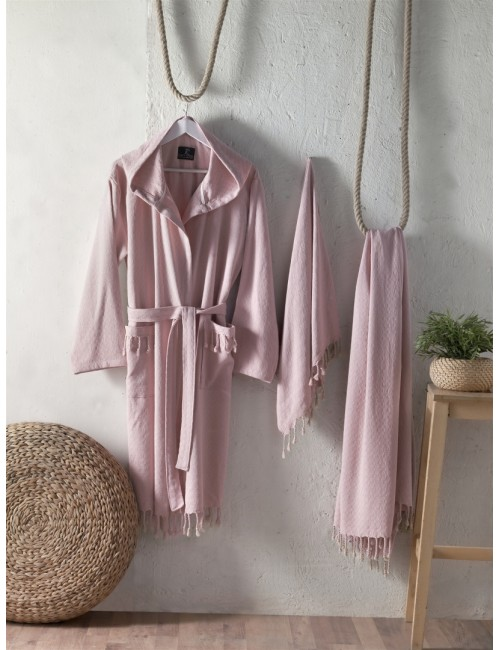 First choice LUXURY STONEWASHED BATHROBE SET-20 Austin pudra НАБОР (ХАЛАТ И 2 ПОЛОТЕНЦА) 2020 г.
