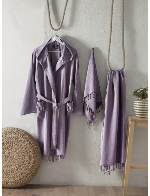 First choice LUXURY STONEWASHED BATHROBE SET-25 Austin leylak НАБОР (ХАЛАТ И 2 ПОЛОТЕНЦА) 2020 г.