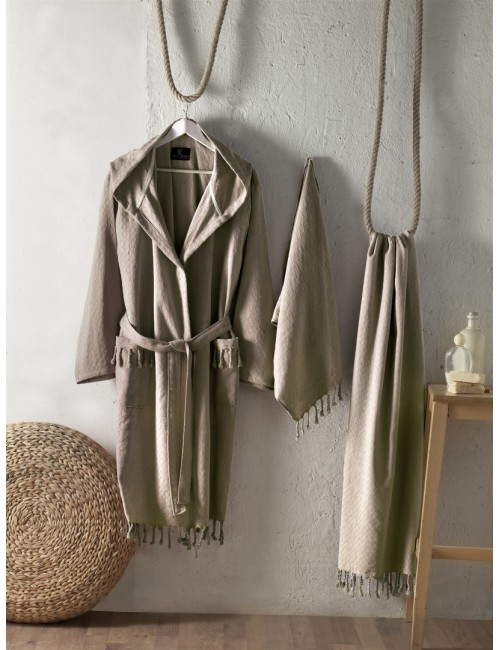 First choice LUXURY STONEWASHED BATHROBE SET-30 Austin kahve НАБОР (ХАЛАТ И 2 ПОЛОТЕНЦА) 2020 г.